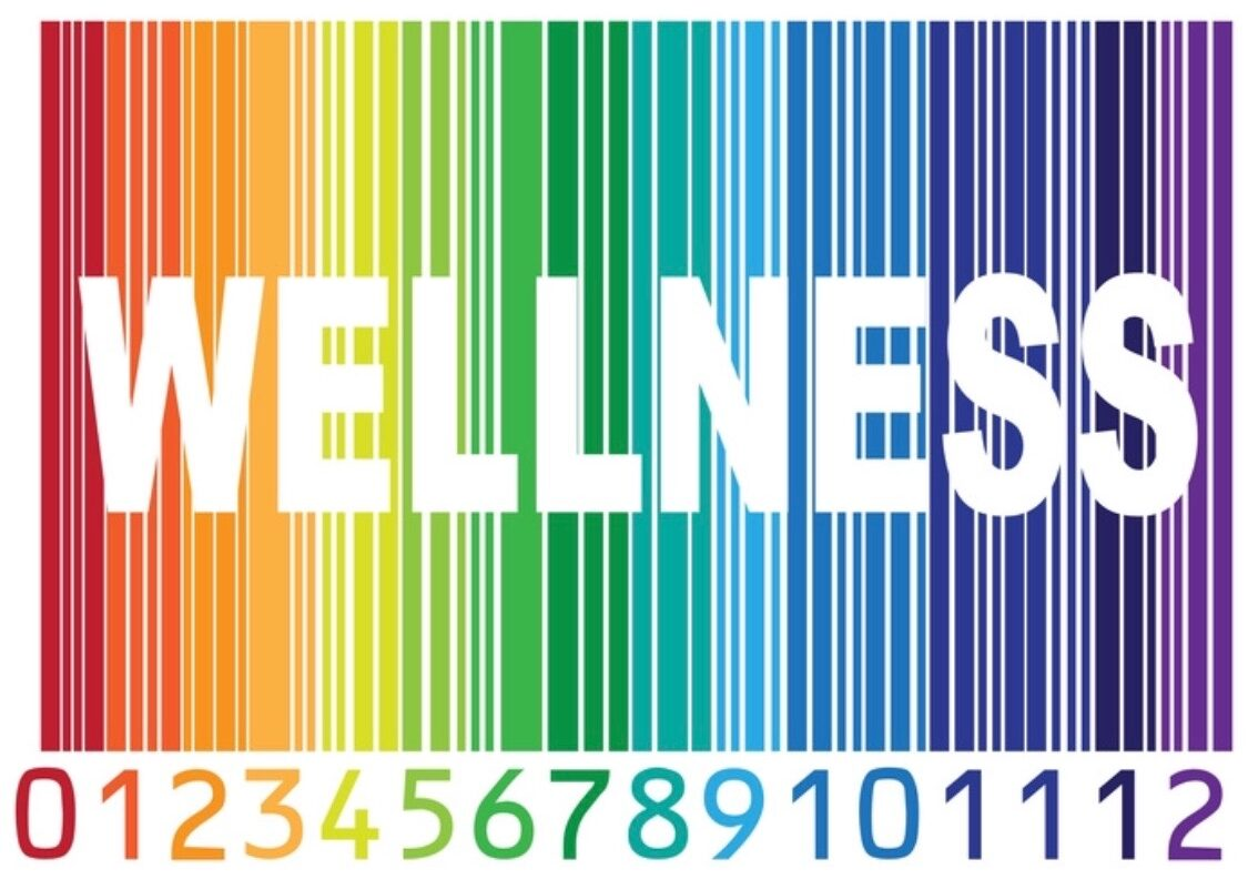 The word wellness written on a rainbow background